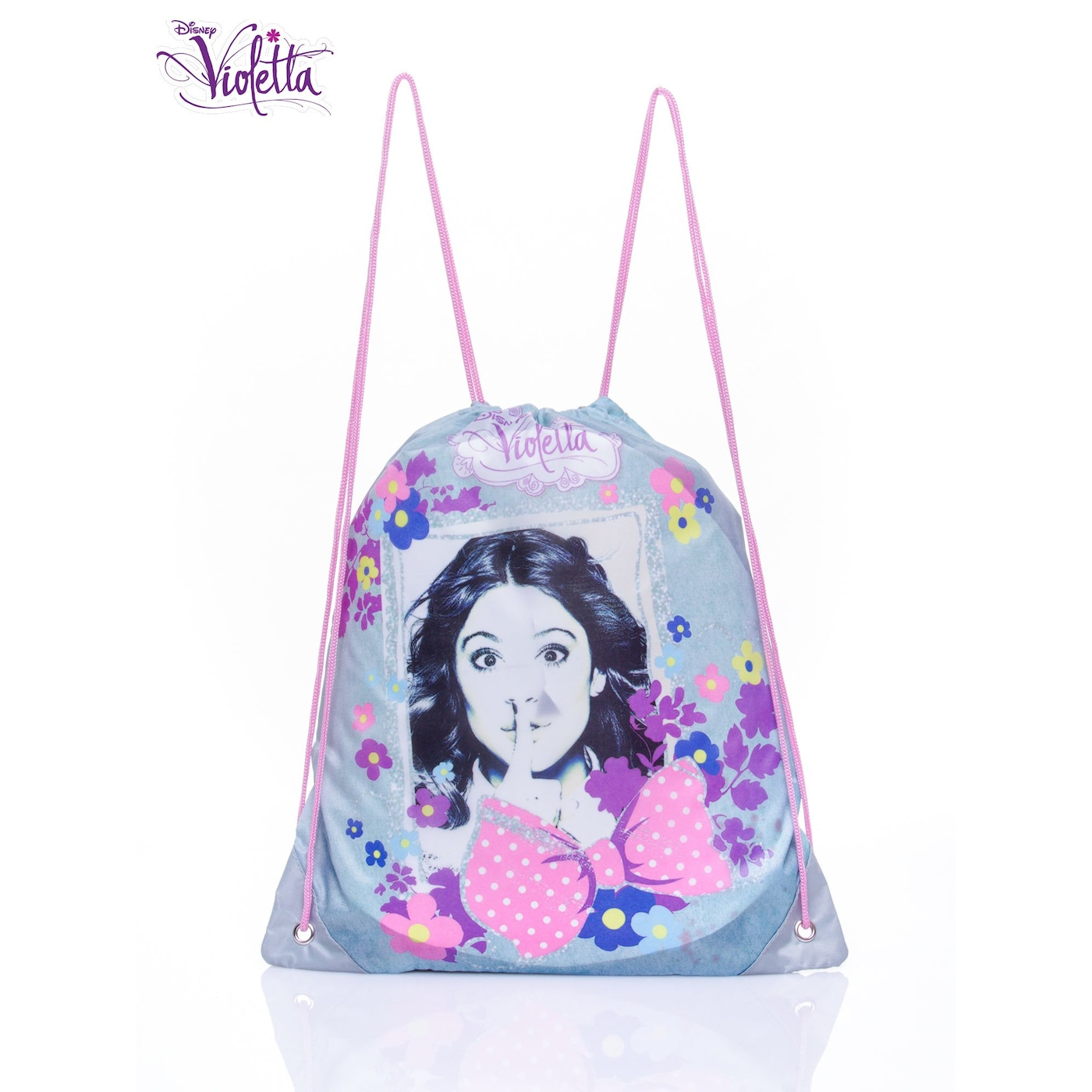 A blue backpack with a Violetta bag