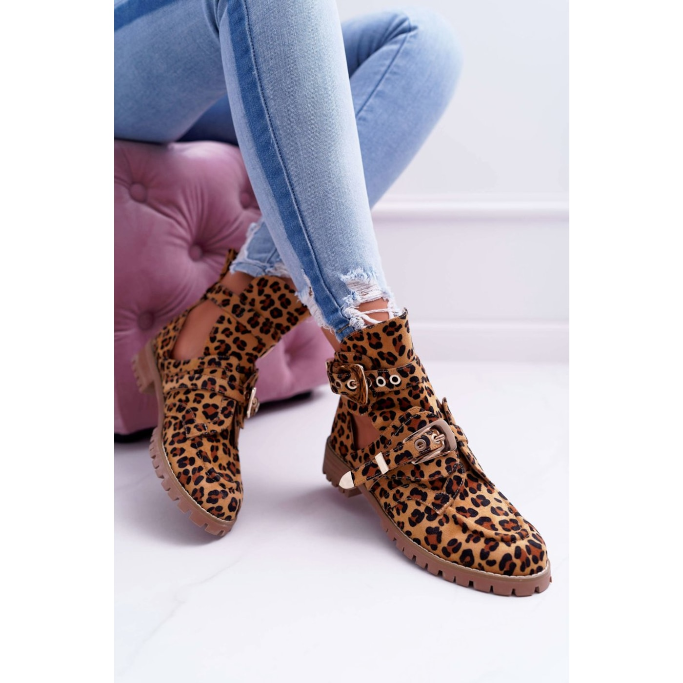 Lu Boo Suede Cut Out Ankle Boots Leopard Rock Girl