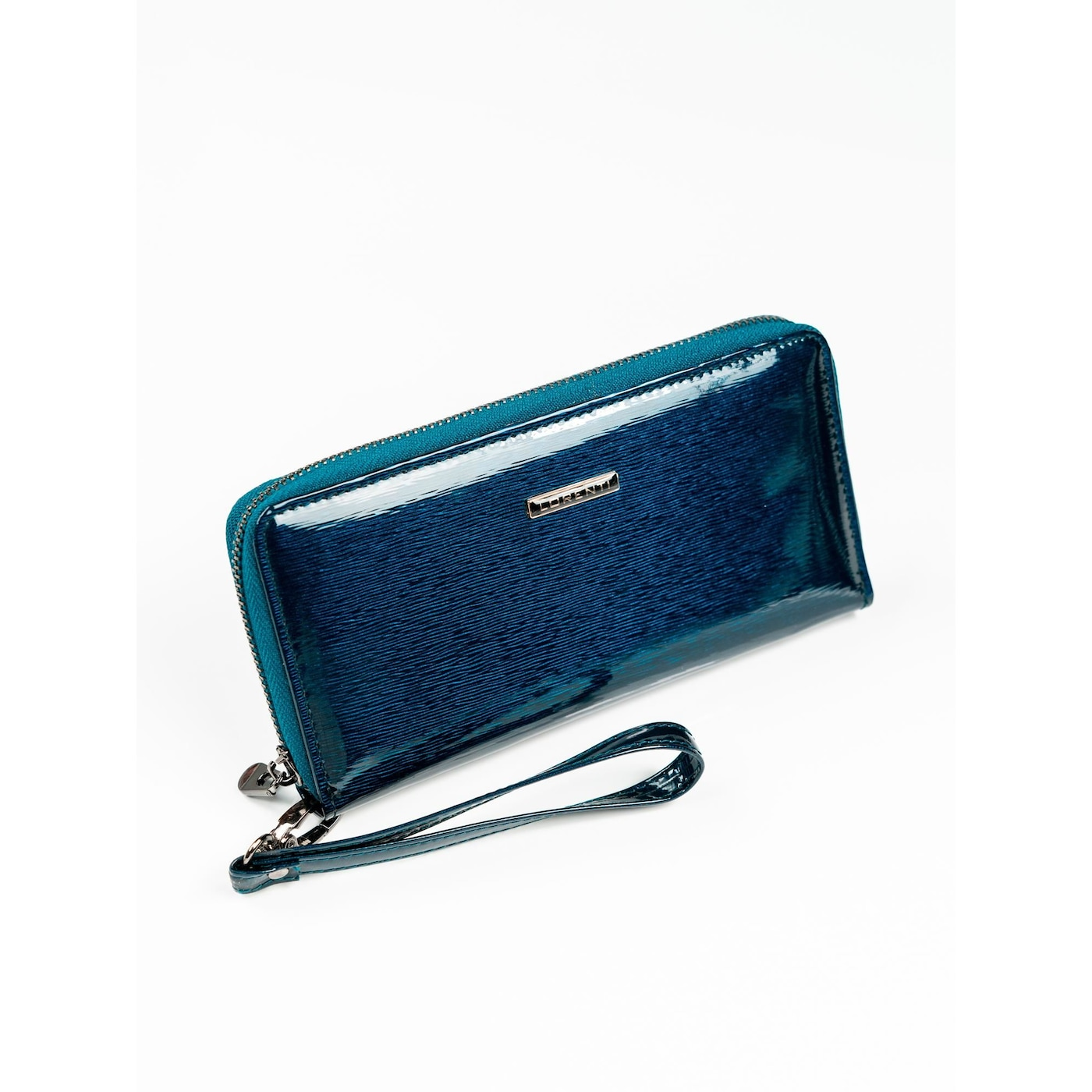 Patent leather wallet with a navy blue handle