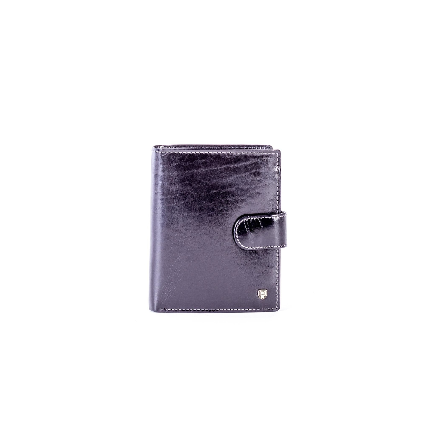 Black leather wallet with a latch