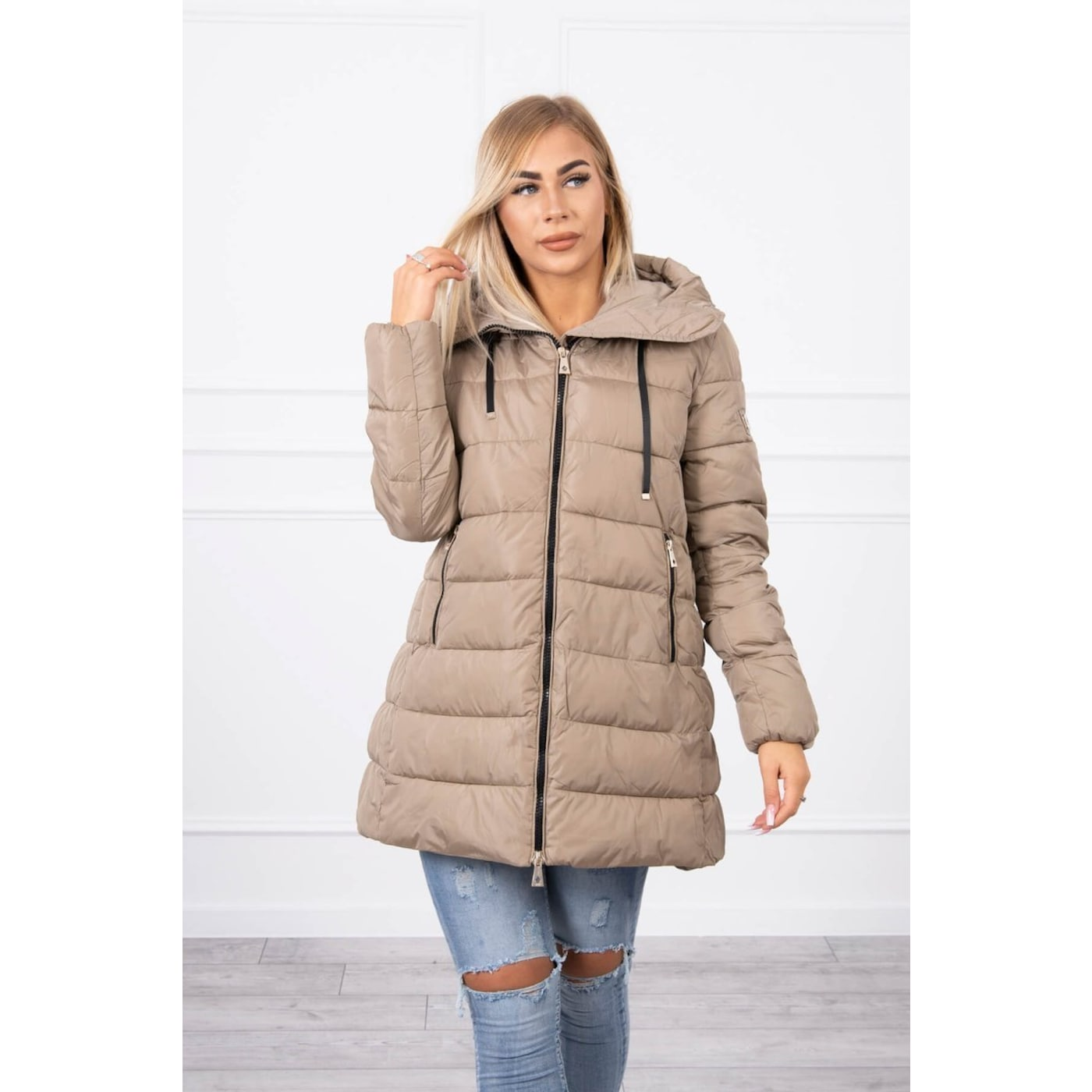Quilted winter jacket FIFI beige