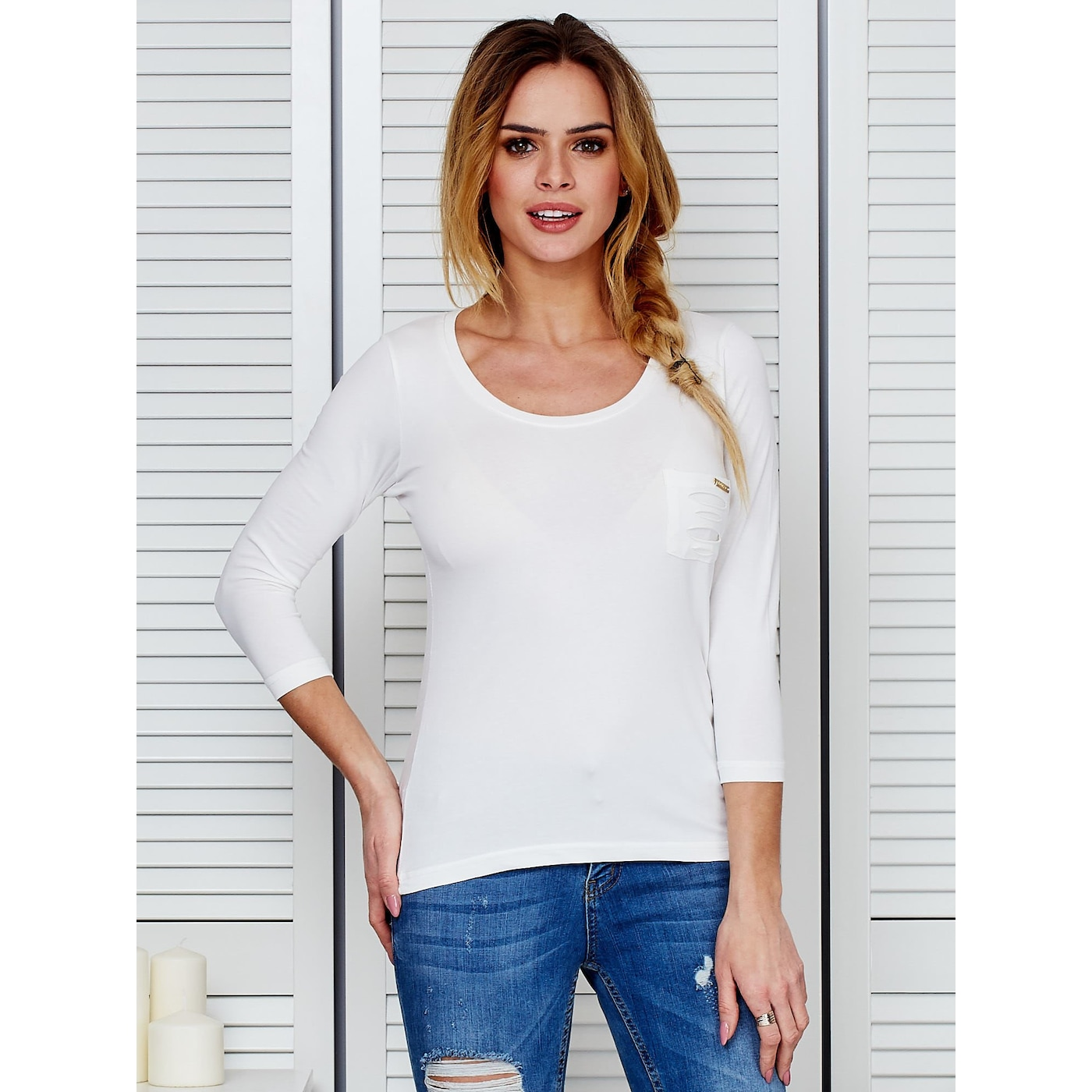 Ecru blouse with cutouts on the back