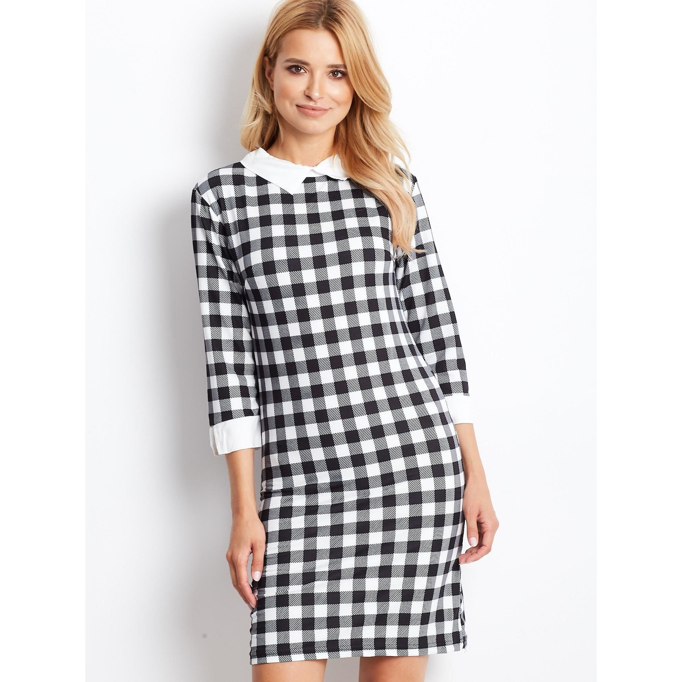 Black and white checkered dress with a collar