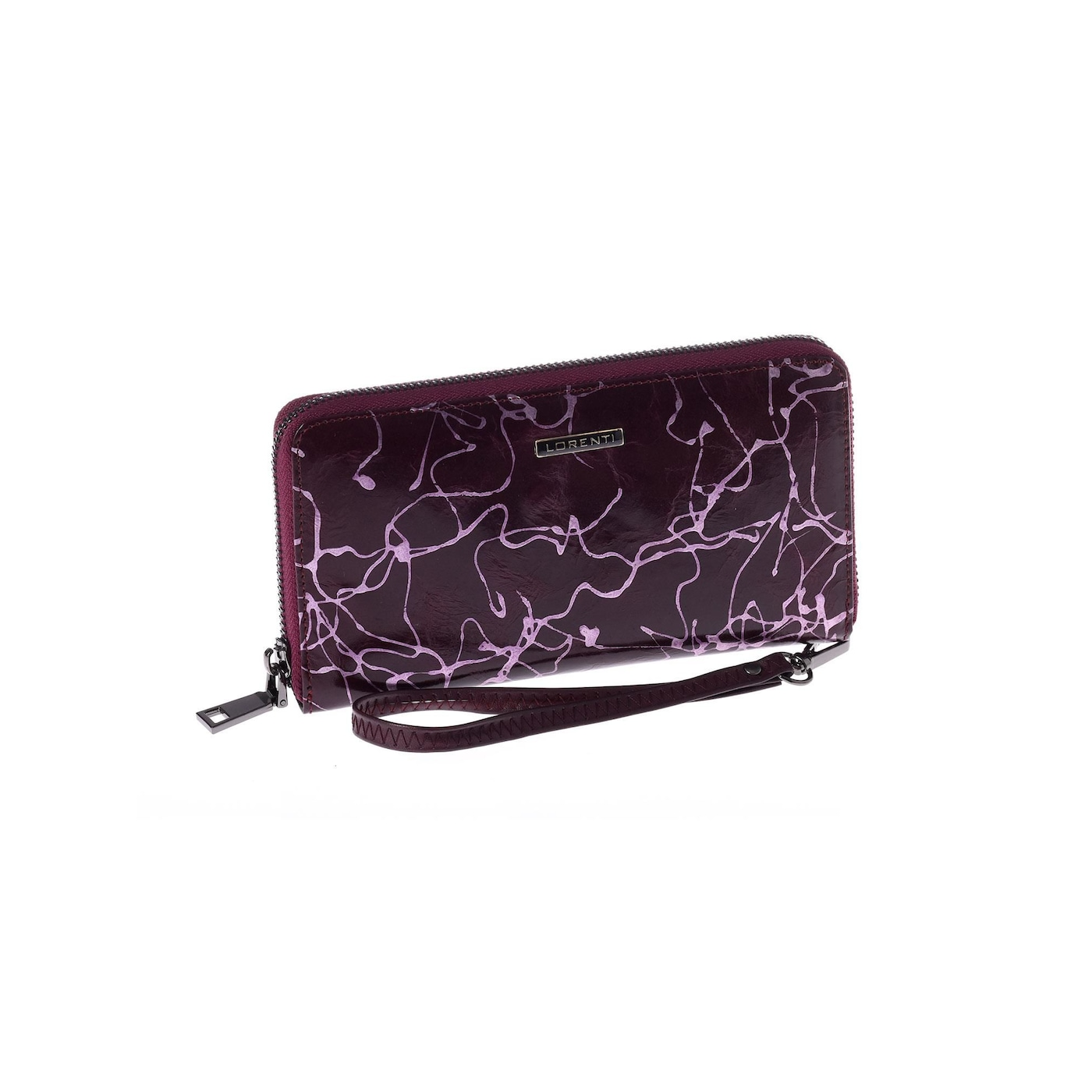 Purple leather wallet with a handle