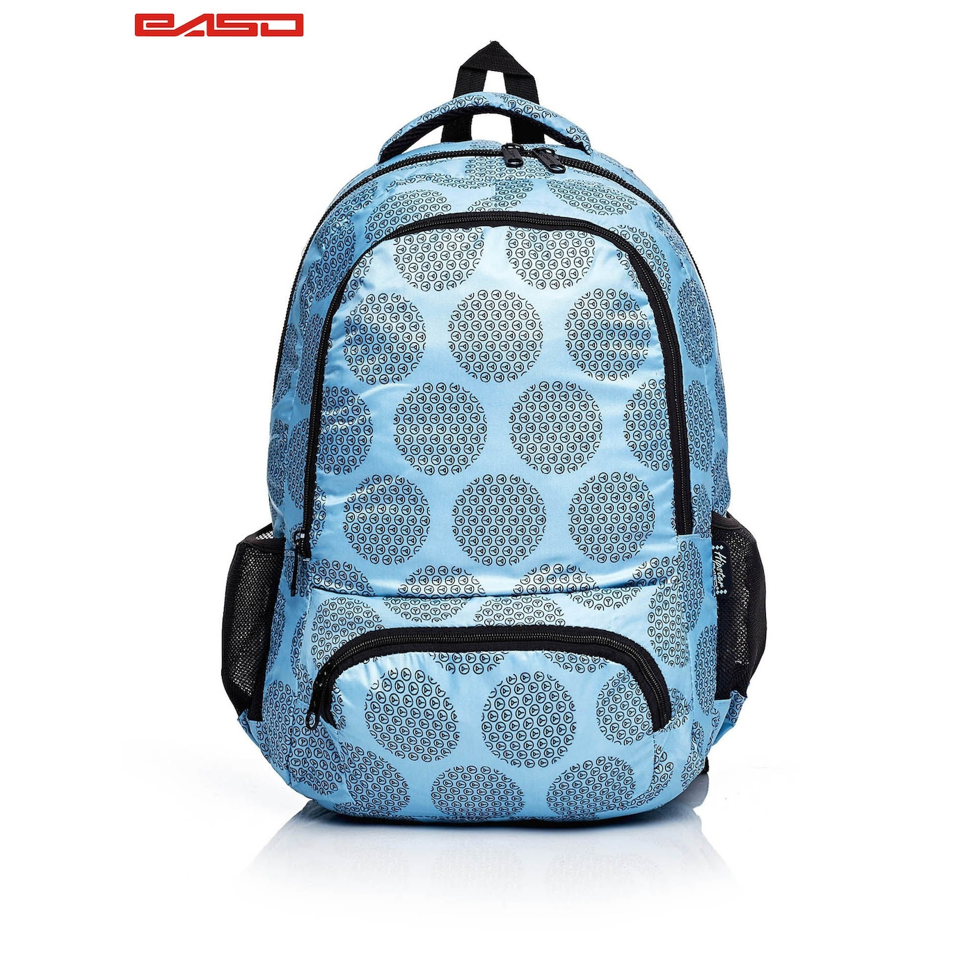 Blue school backpack with a graphic motif