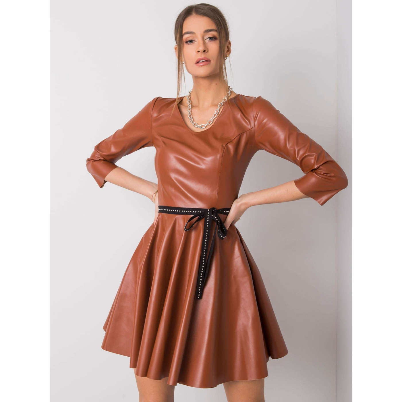 Light brown dress made of ecological leather
