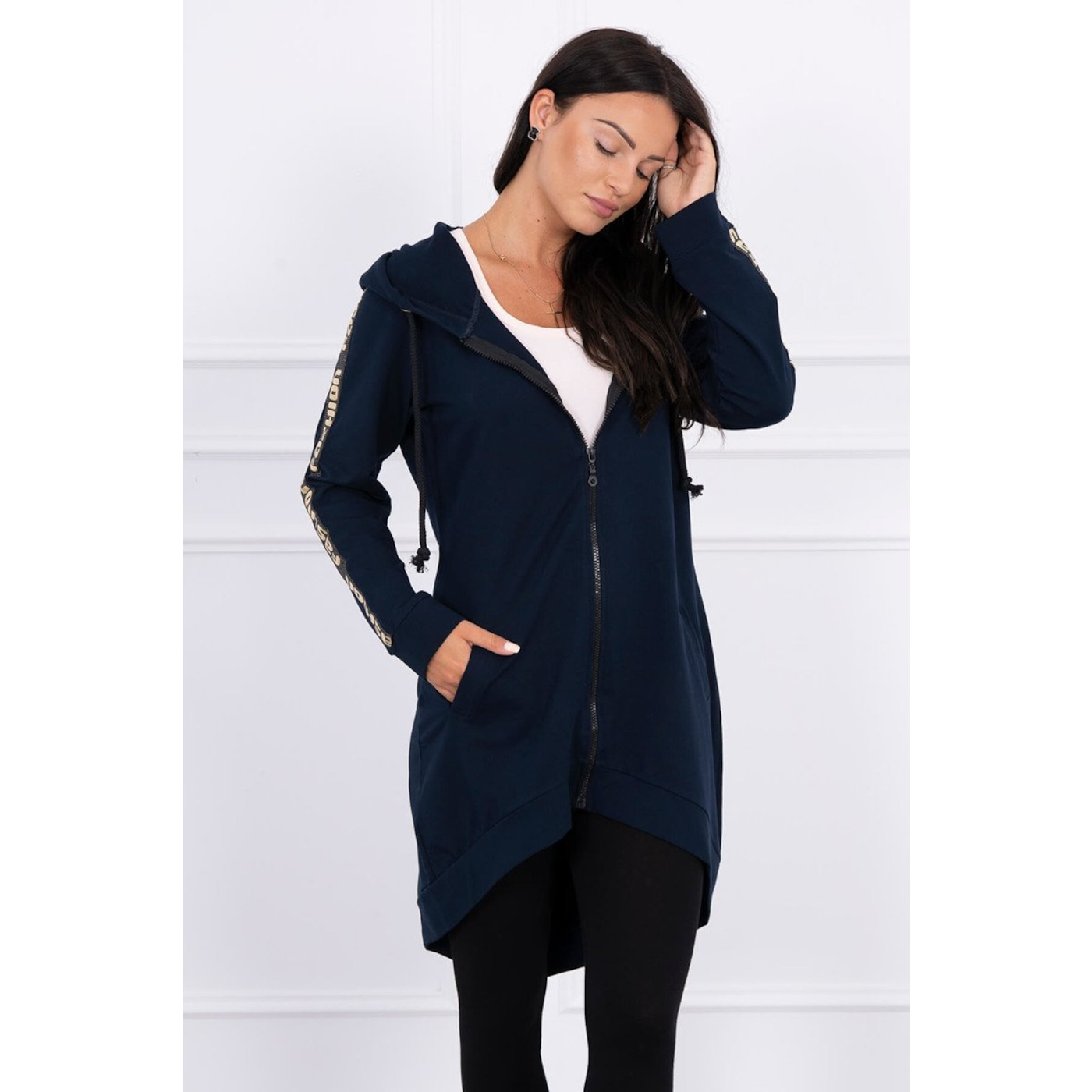 Sweatshirt with zip at the back navy blue