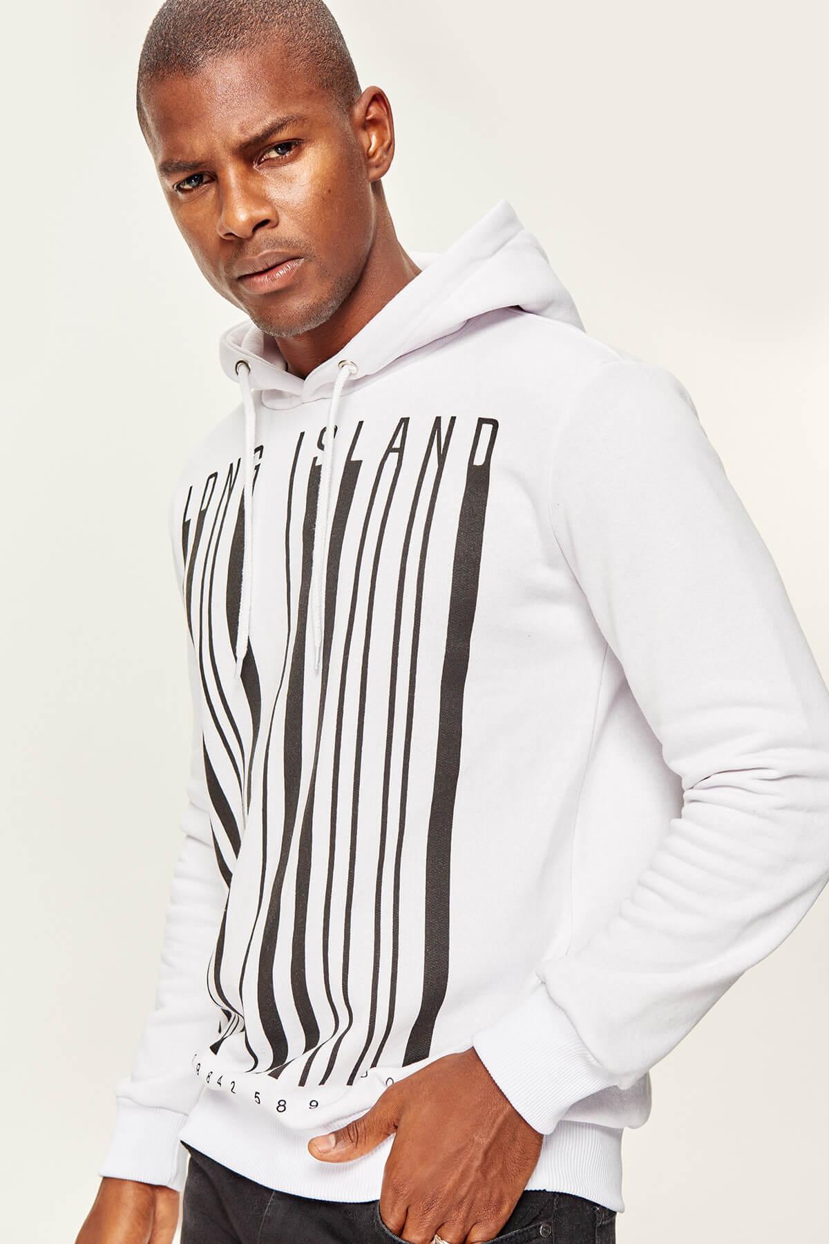 Trendyol White Men's Hooded Graphic-Printed Sweatshirt