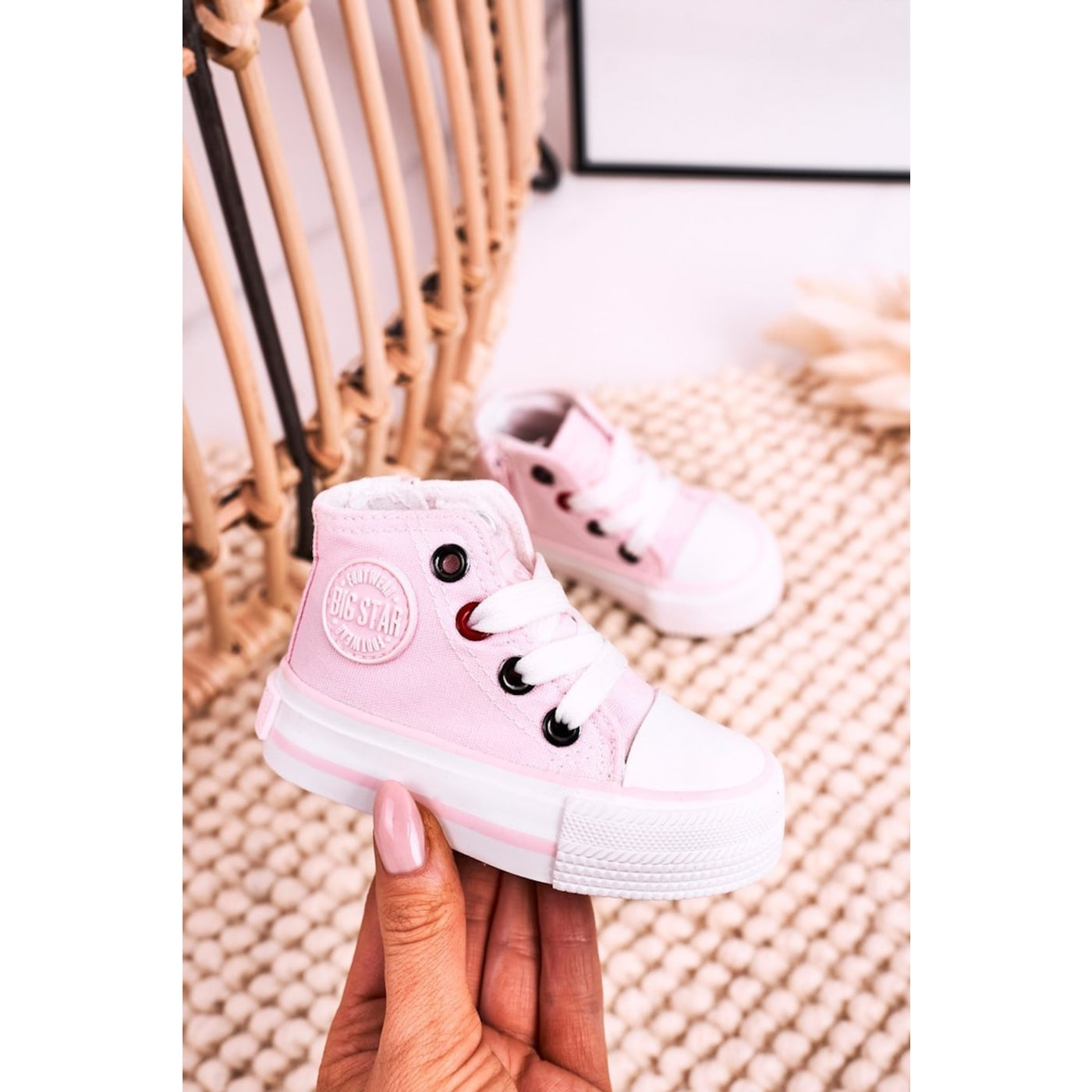 Children's High Sneakers With A Zipper BIG STAR HH374191 Pink