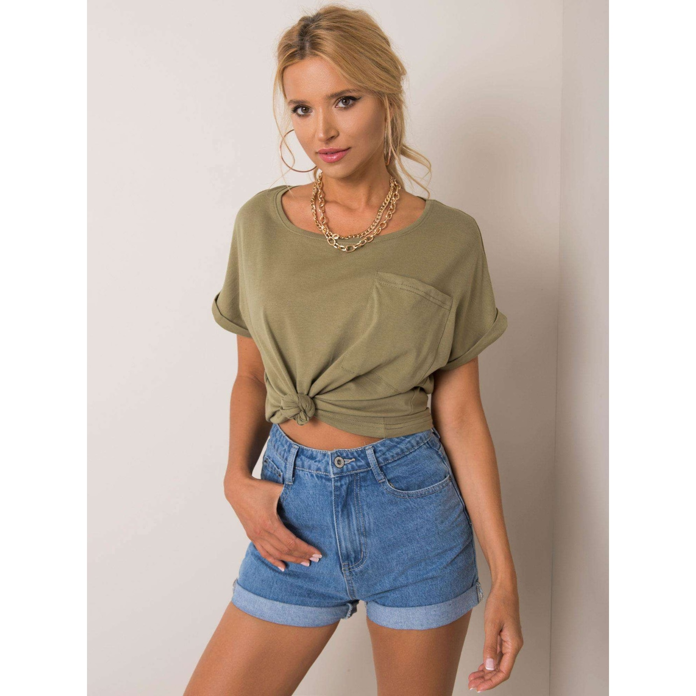 YOU DON´T KNOW ME Khaki t-shirt with a pocket