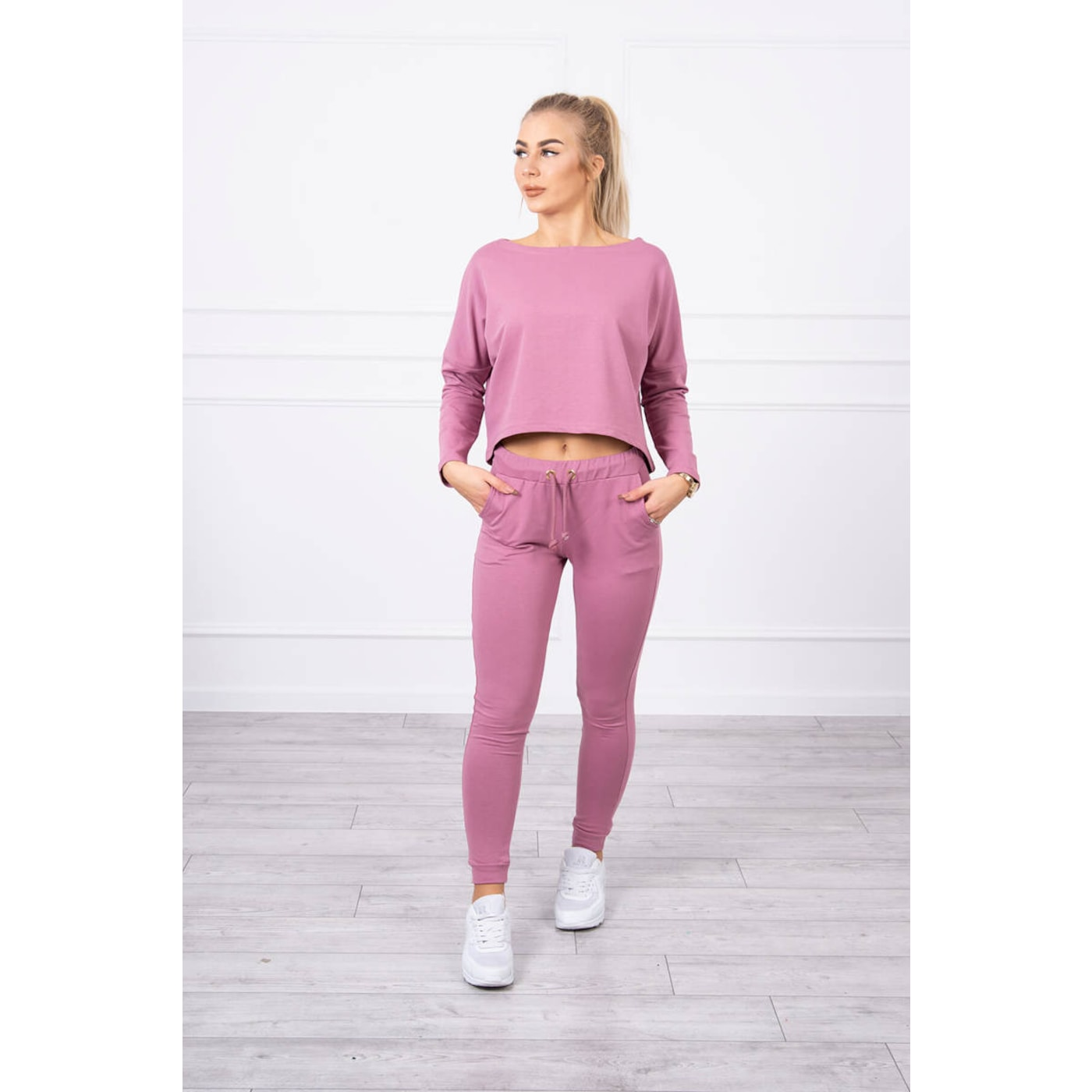 Set with oversized blouse dark pink
