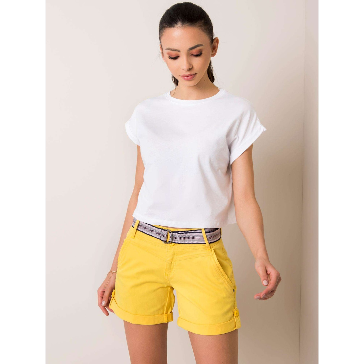 SUBLEVEL Yellow shorts with rolled up legs