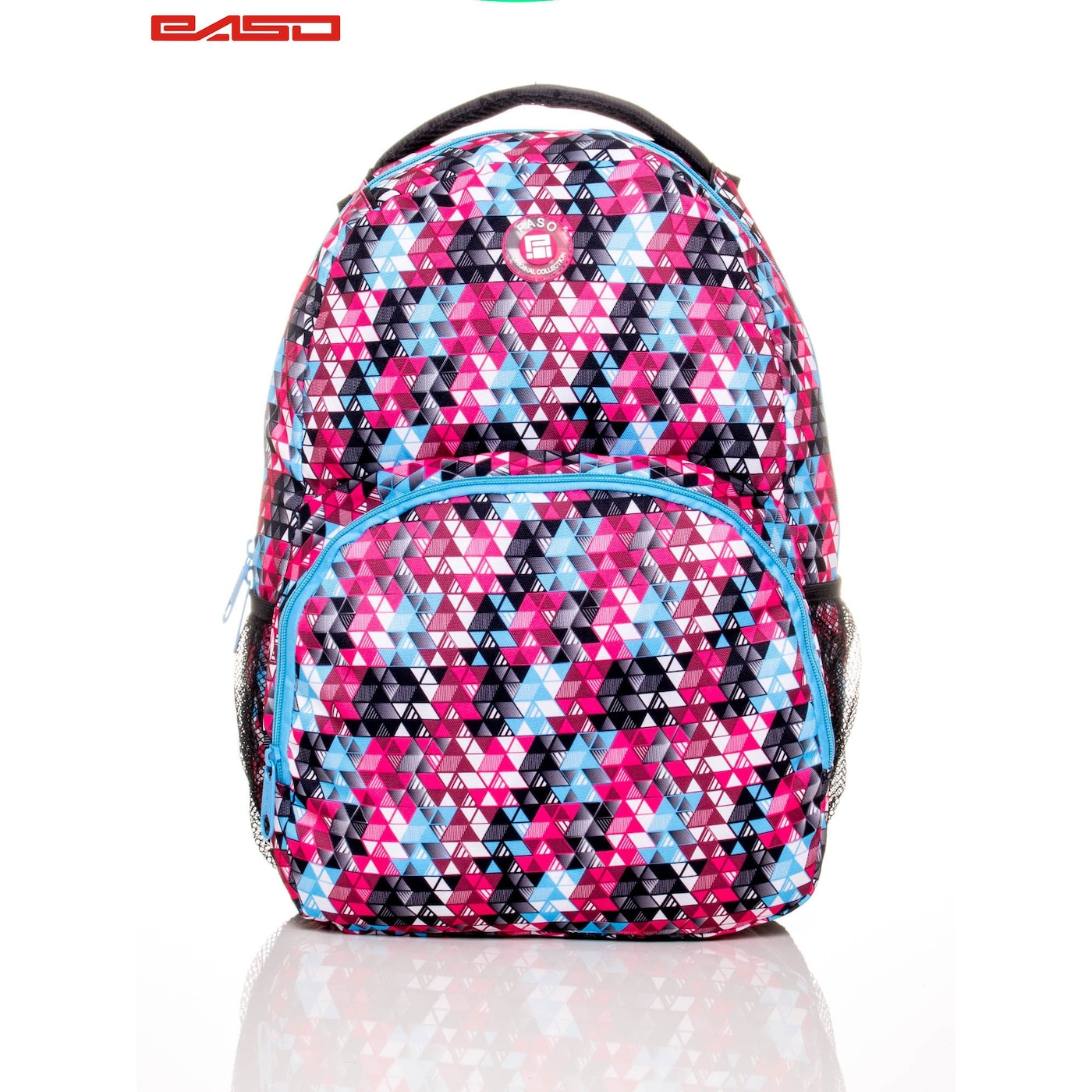 School backpack with colorful triangles