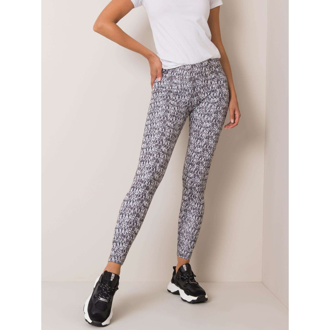 Black and white leggings with a print