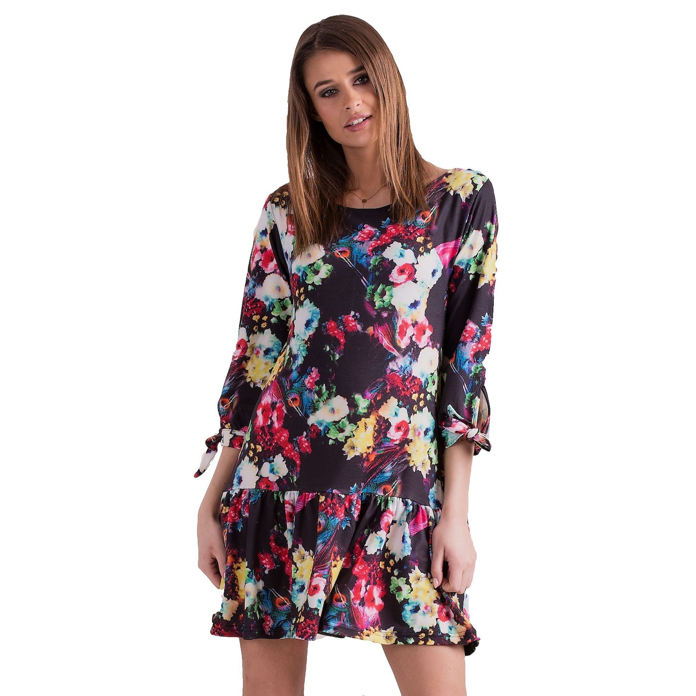 Black floral dress with ties on the sleeves