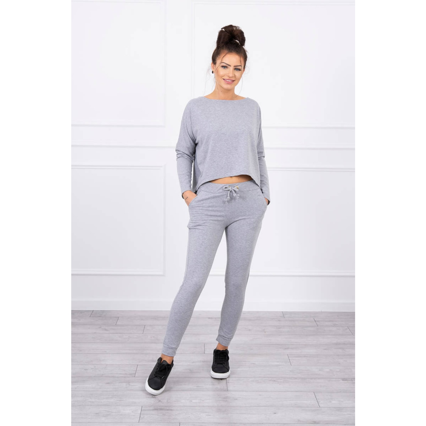 Set with oversized blouse gray