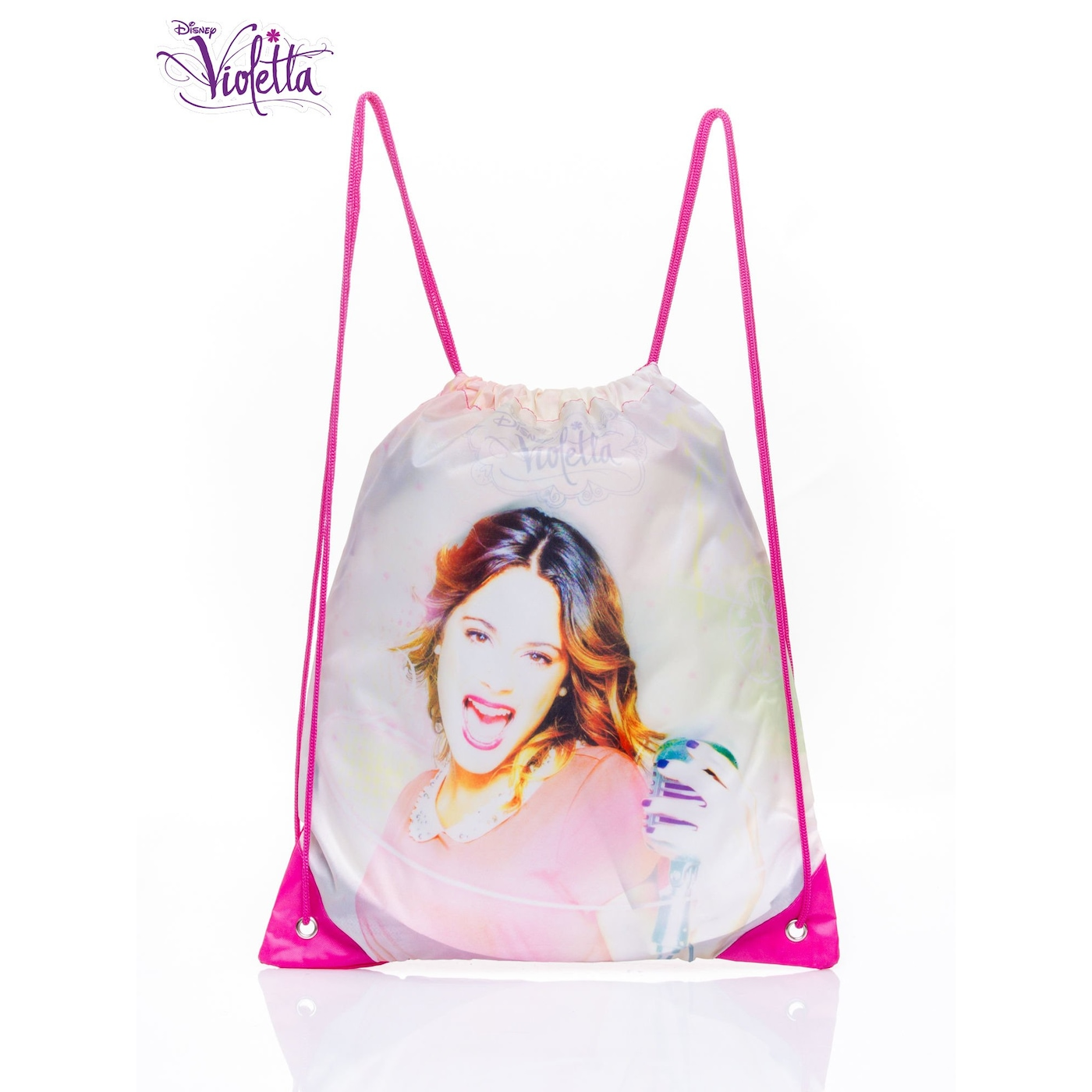 A white backpack with a Violetta bag