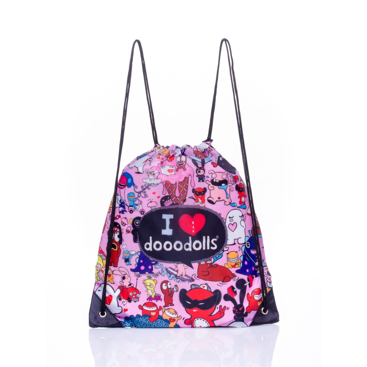 Pink backpack with a Dooodolls motif