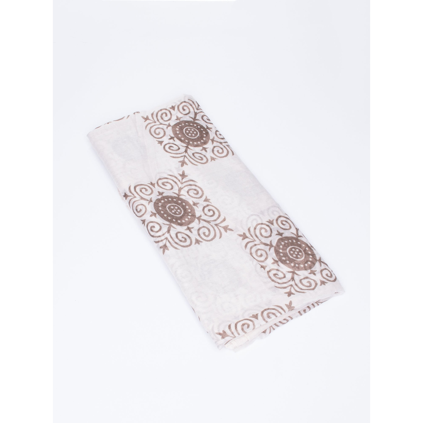 Light beige shawl with oriental pattern and flowers