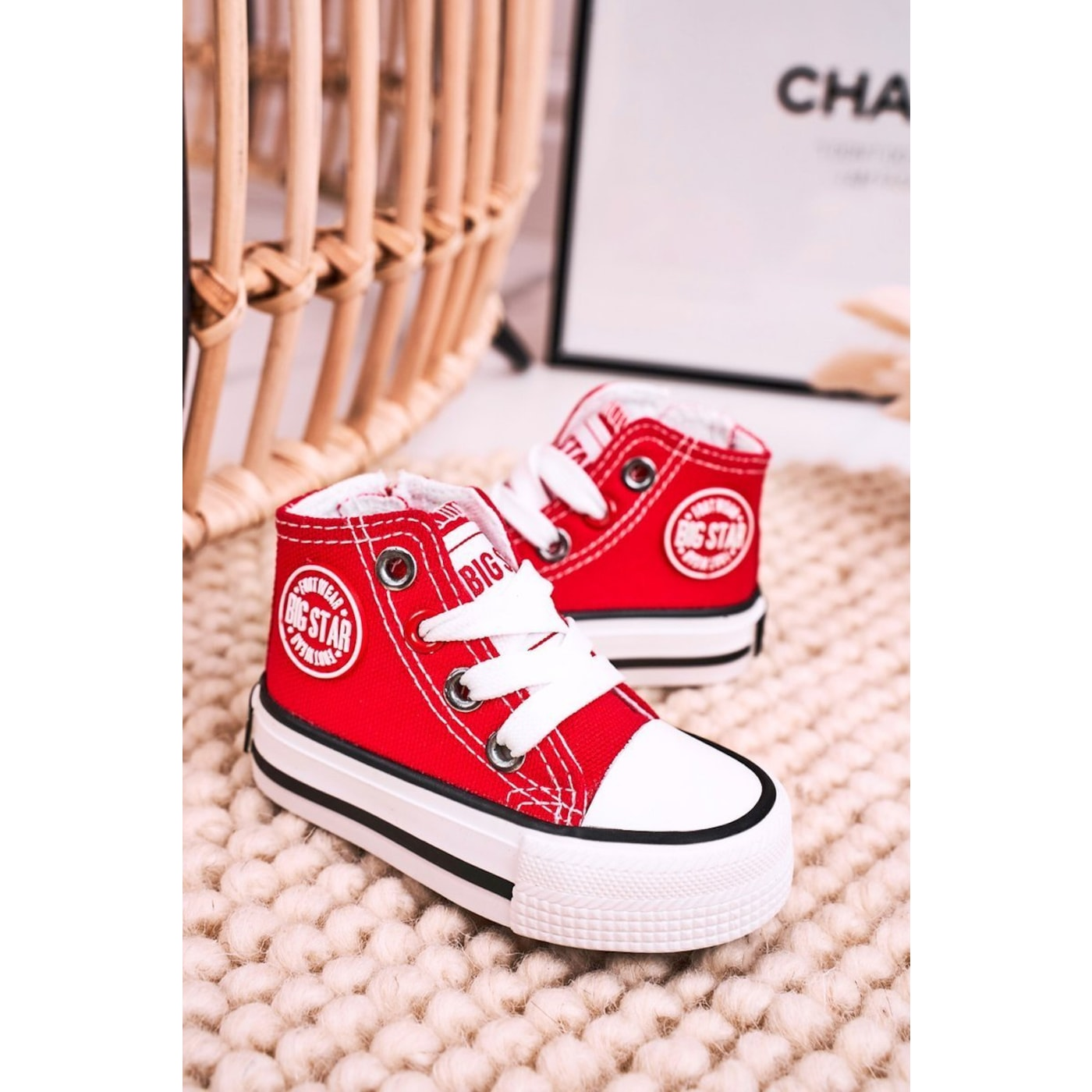 Children's High Sneakers With A Zipper BIG STAR HH374190 Red