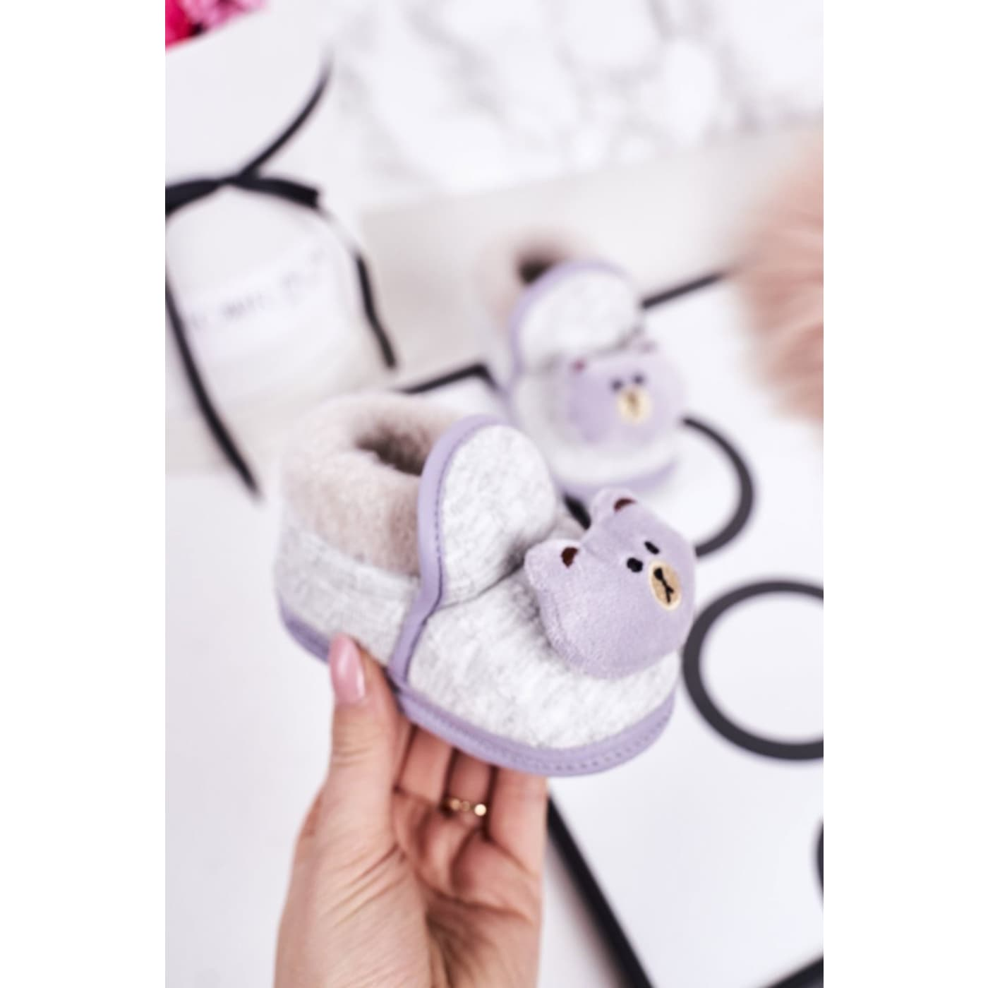 Children's Home Slippers On Elastic Band With Teddy Bear Grey Pooh