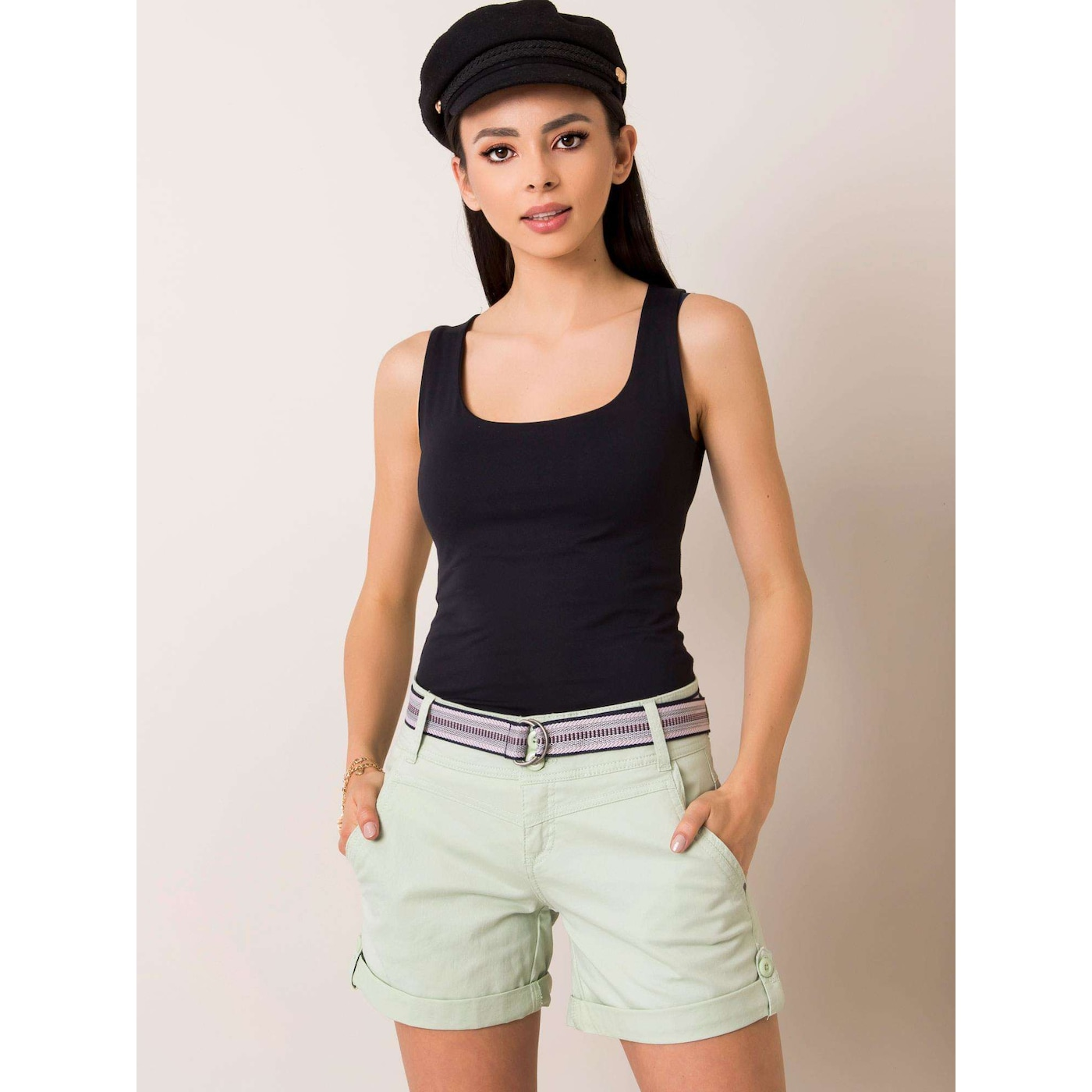 SUBLEVEL Light green shorts with rolled up legs