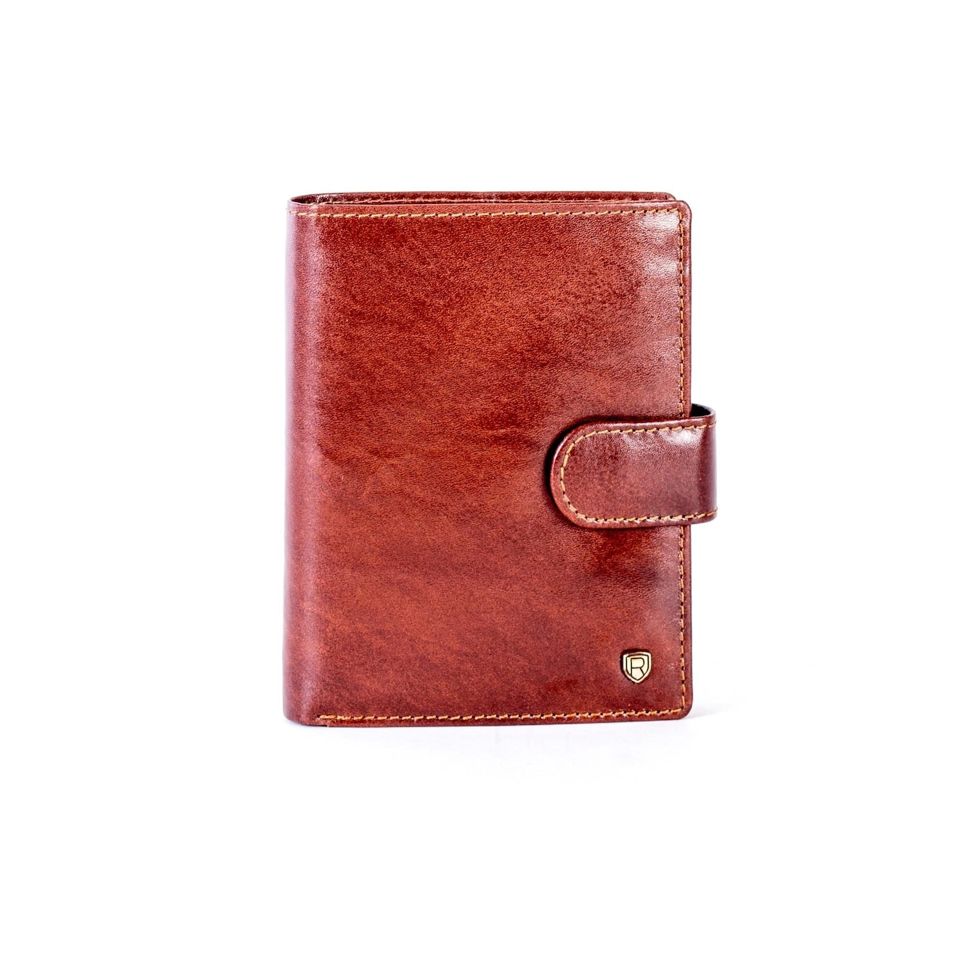 Brown leather wallet with a latch