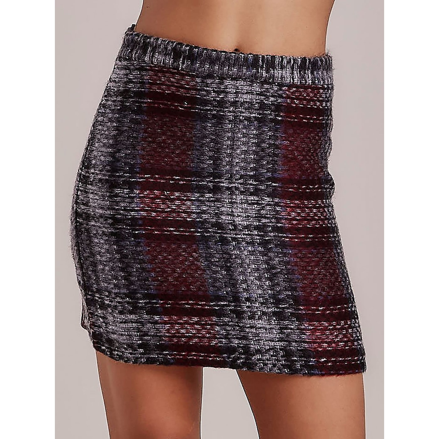 Dark gray checked mini skirt