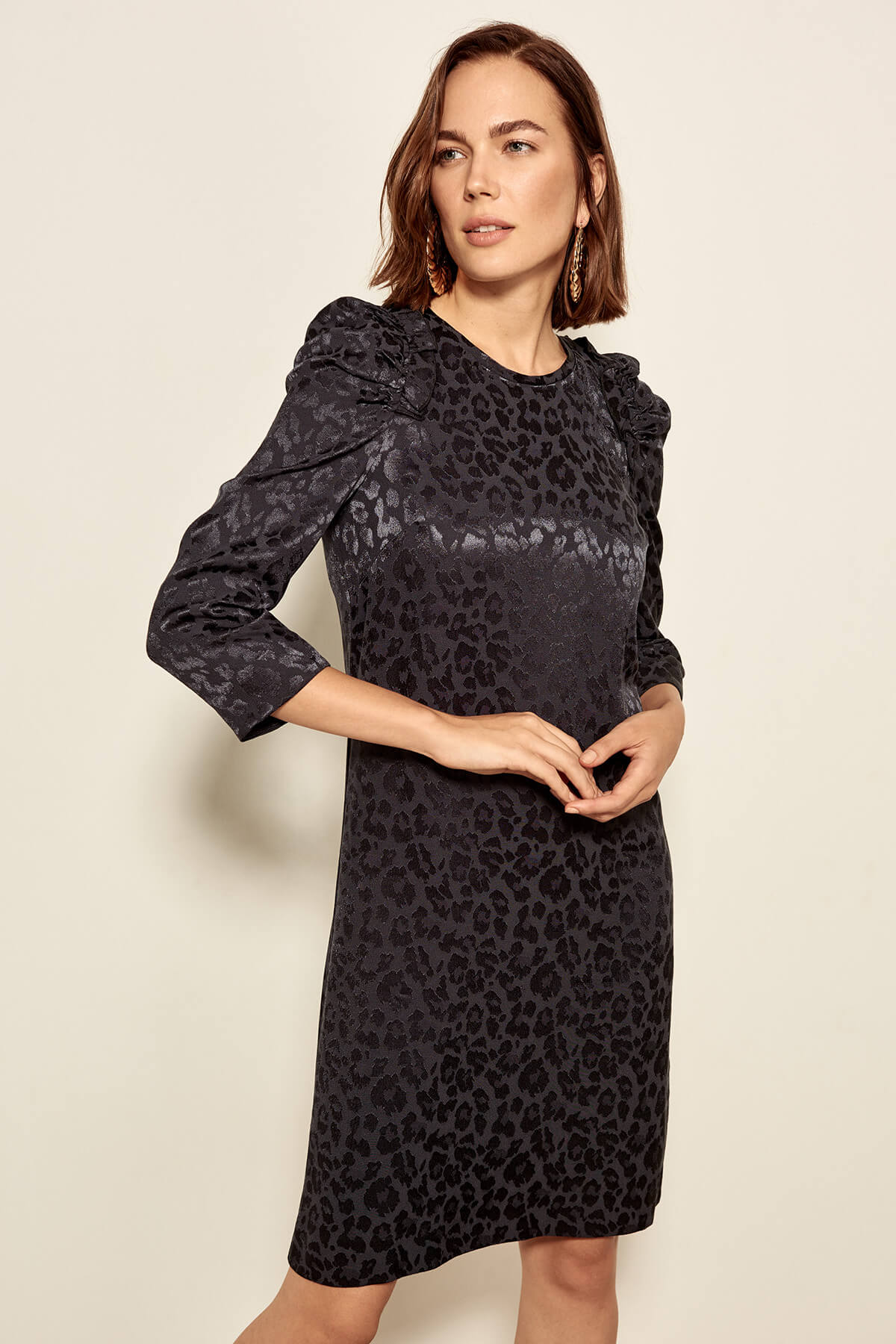 Trendyol dámske lesklé šaty s leopardím vzorom