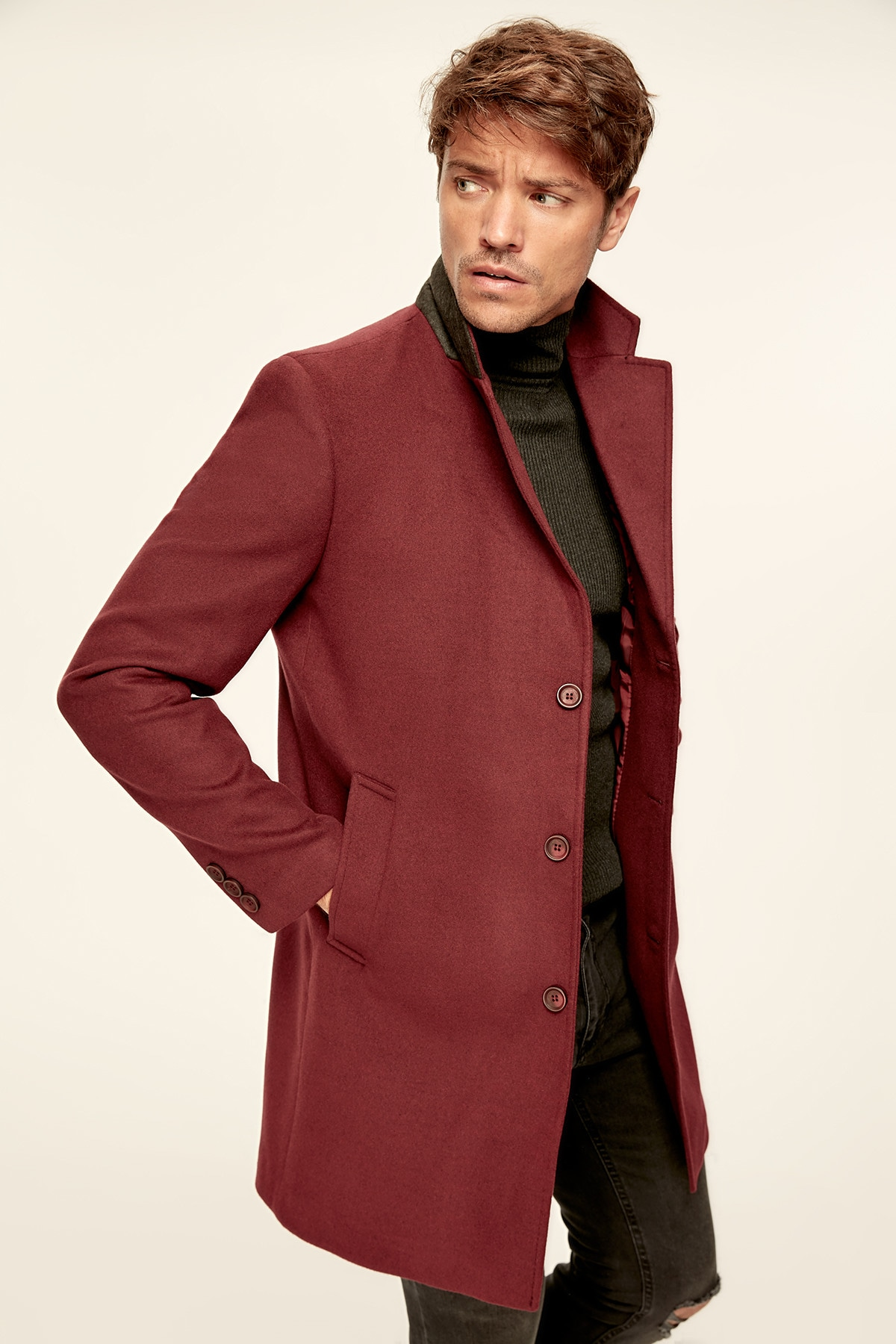 Trendyol Burgundy Mens Coat-Wool Blended