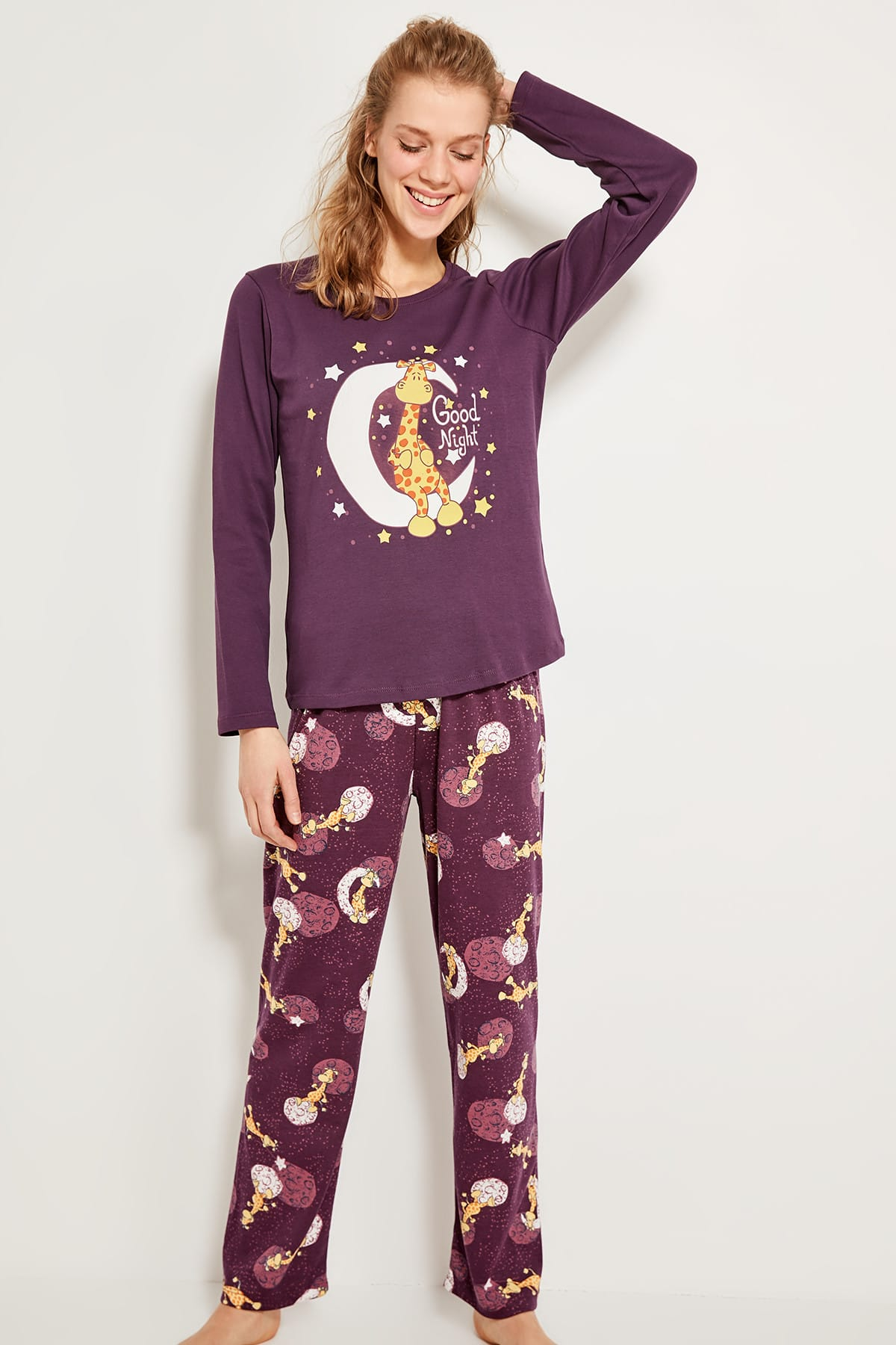 Trendyol Purple Giraffe Patterned Bottoms