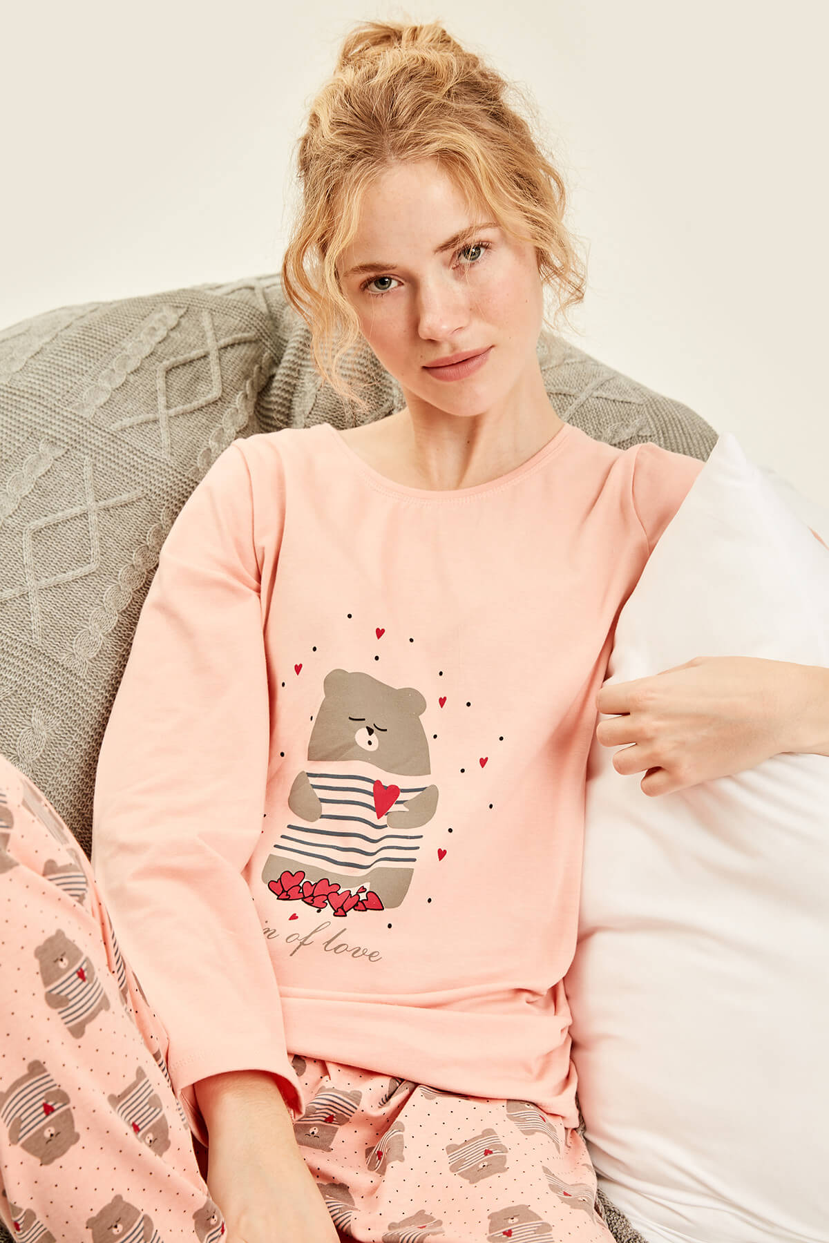 Trendyol Powdered Bear-Patterned Pajamas-Top