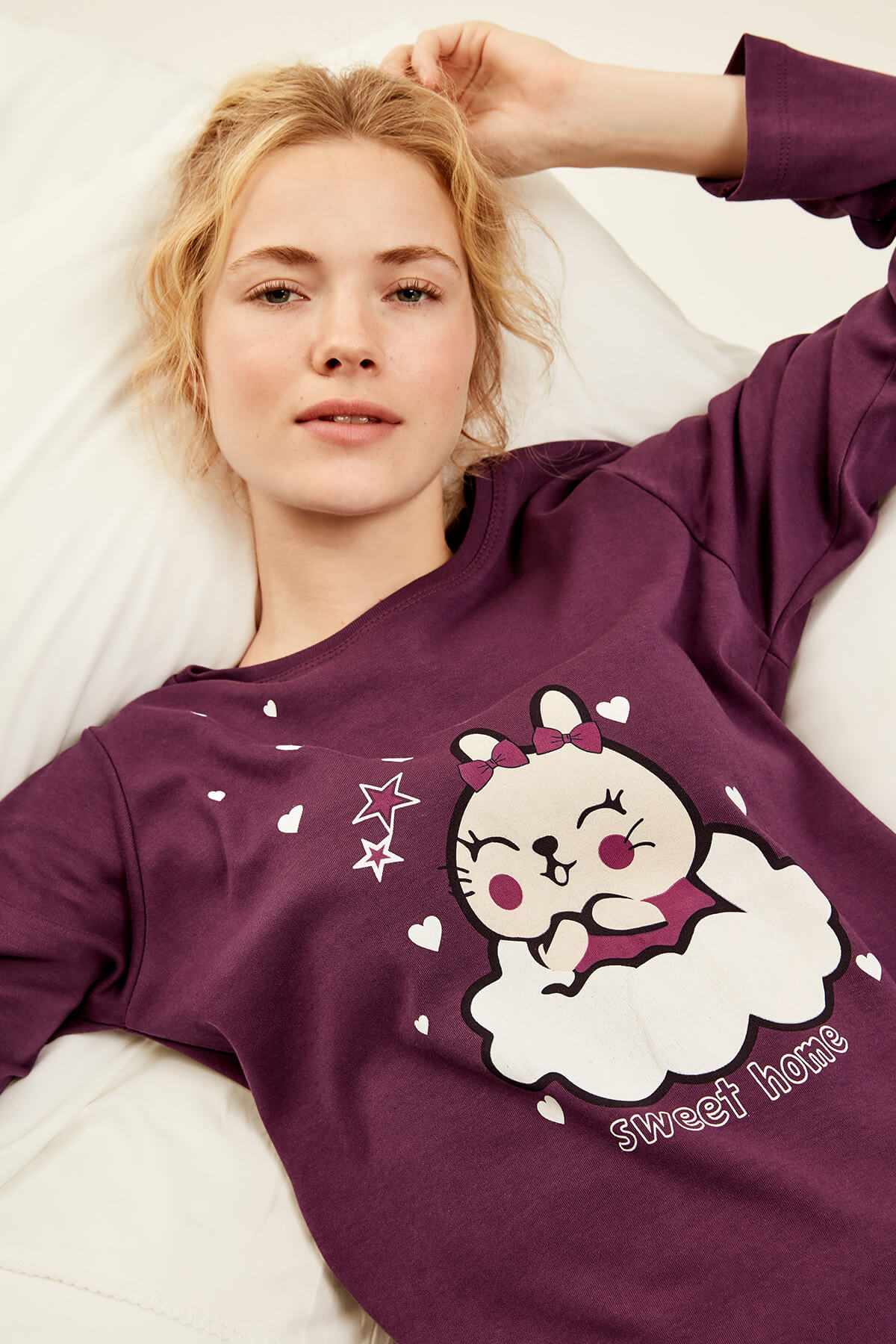 Trendyol Purple Cat Printed Pajama Top