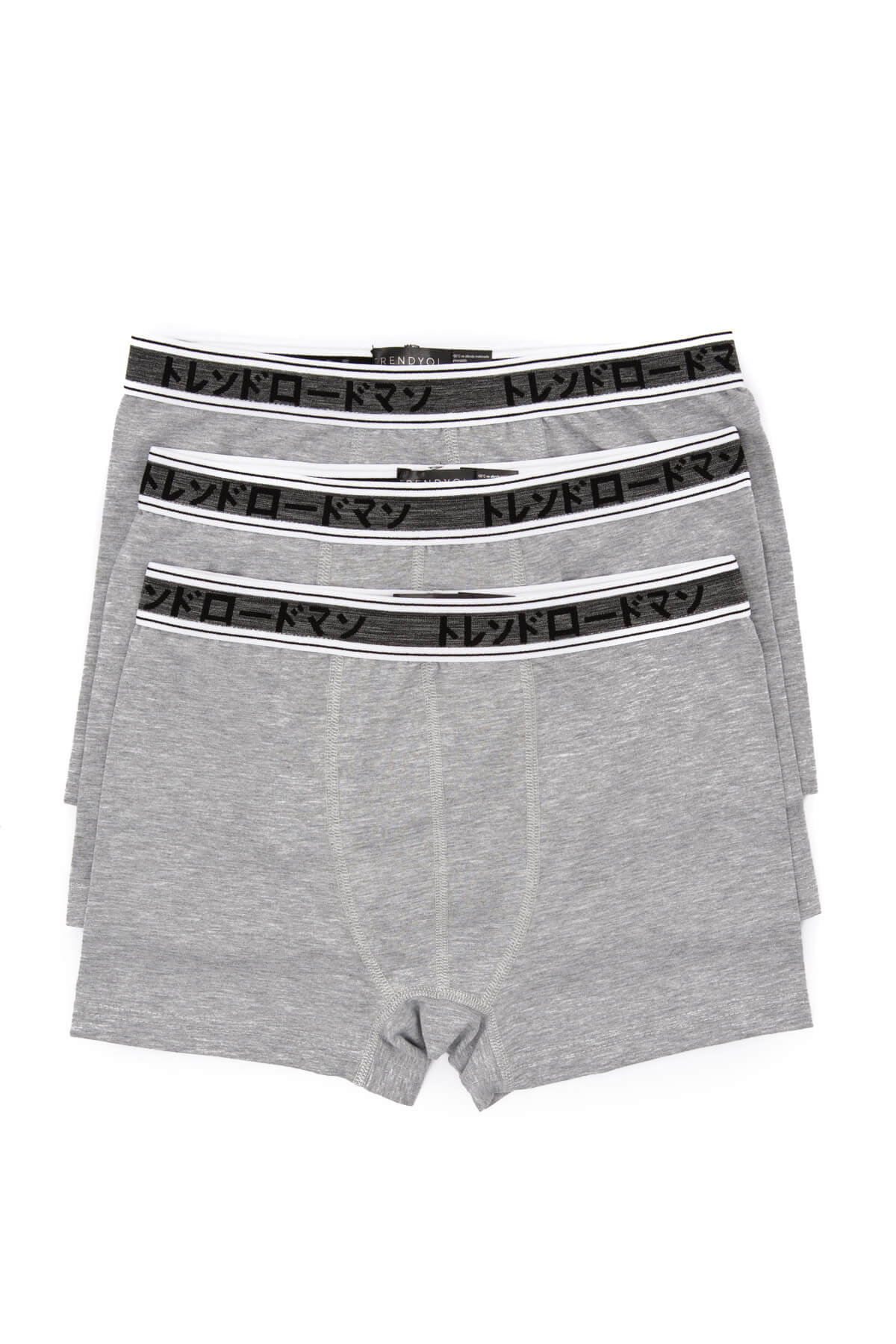 Trendyol Grey Male Boxer-solid color 3-Mixed Packs
