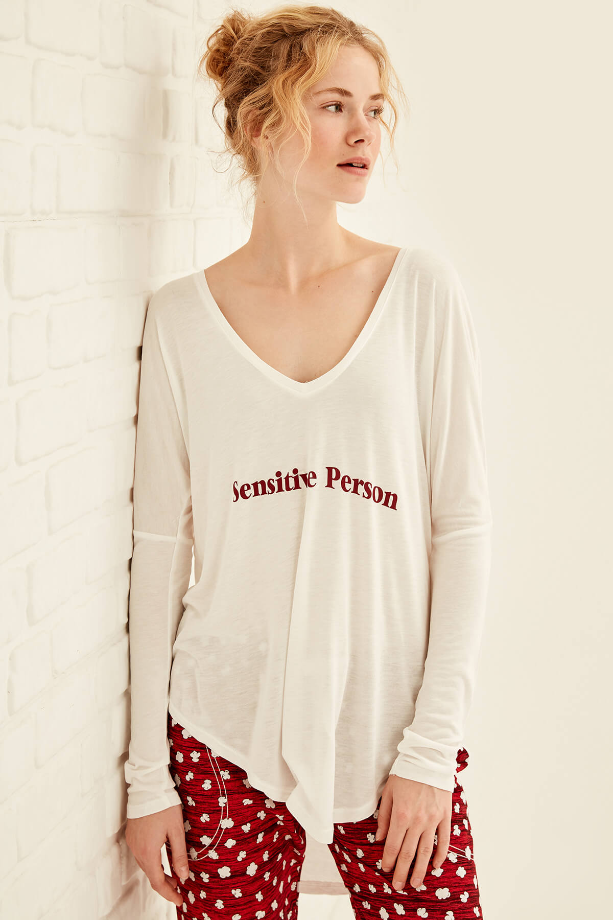 Trendyol White Printed Pajama Top