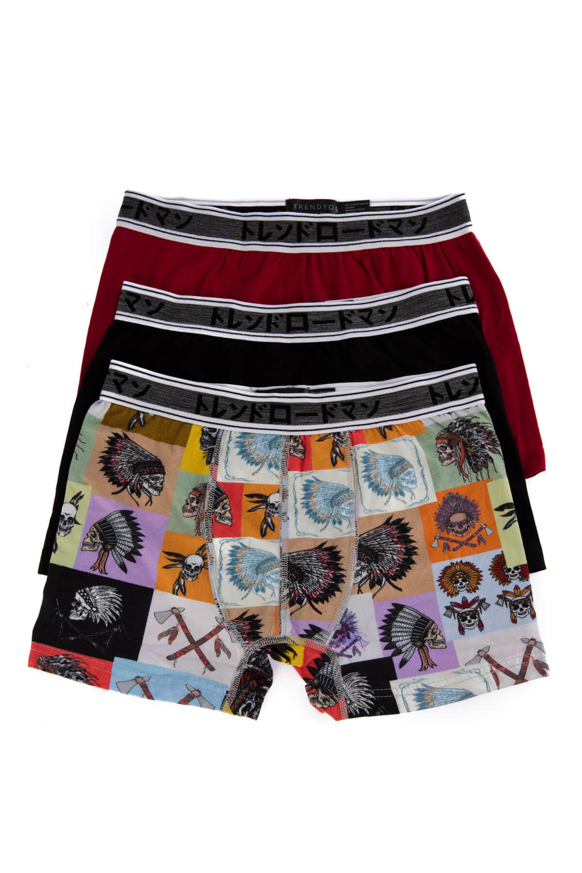 Trendyol Orange Male Boxer-Patterned 3-Mixed Packs