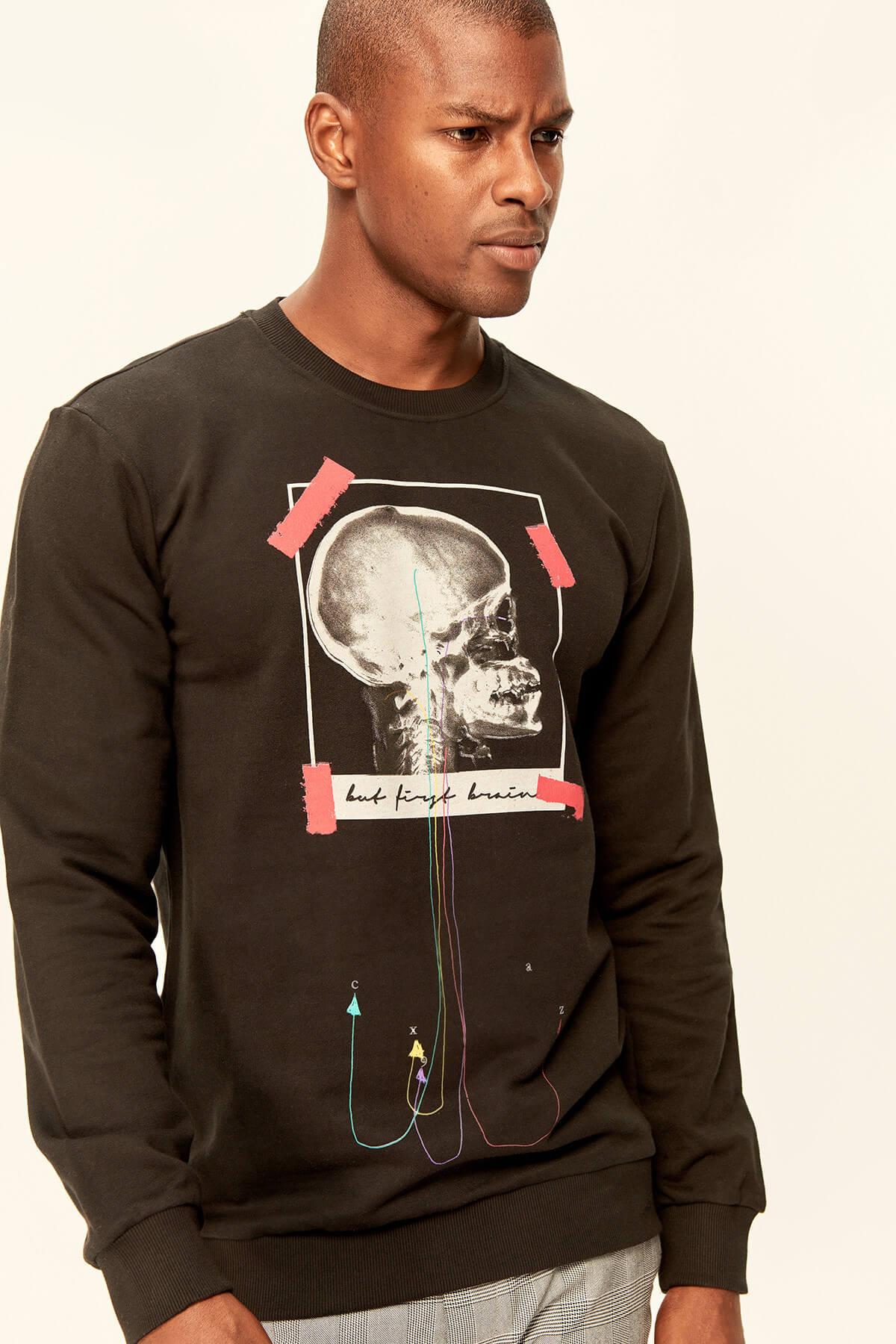 Trendyol Black Men's Sweatshirts-Graphic-Printed