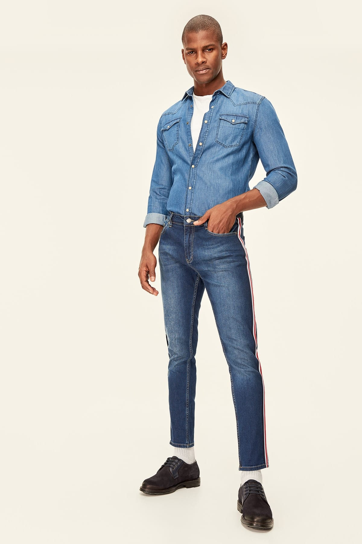 Trendyol Indigo, As Well As Striped Flat Tapared Fit Jean