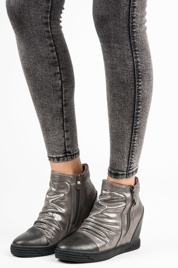 SILVER WEDGE ANKLE BOOTS
