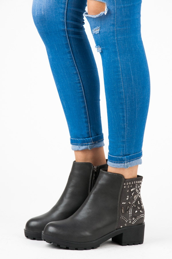 ANKLE BOOTS WITH RHINESTONES
